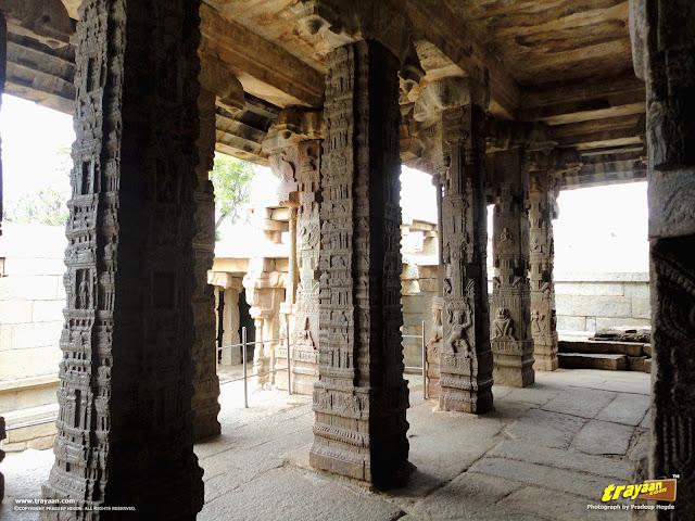 Beautifully carved pillars inside the Veerabhadra Swamy Temple at Lepakshi, in Andhra Pradesh, India