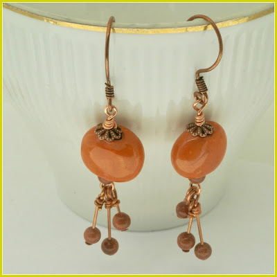 Long Orange Earrings by BayMoonDesign
