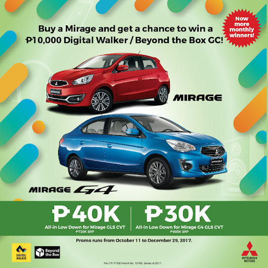 Owning a New Mitsubishi Mirage Becomes More Exciting with Digital Walker Raffle Promo