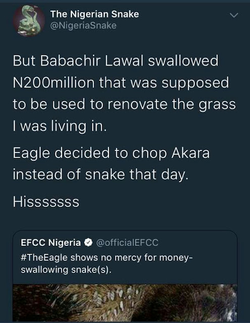 JAMB snake and EFCC eagle clash in rib cracking contest...