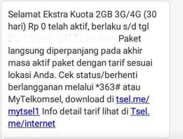 Paket internet gratis telkomsel 0 rupiah terbaru