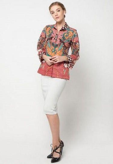 Model Baju Seragam Batik Pegawai Bank Wanita