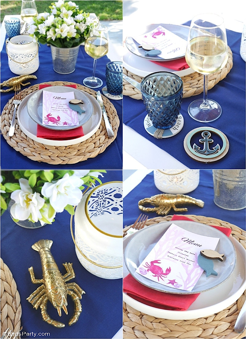 A Seaside Inspired Tablescape and 3 BBQ Recipes - easy to style table decor ideas and easy recipes for a nautical summer barbecue or dinner party! by BirdsParty.com @birdsparty #bbq #barbecue #seasidetablescape #nauticalparty #nauticaldinerparty #seasidedinnerparty #summerparty #dinnerparty #shrimpboil #shrimpbbq #bbqrecipes #seasideparty
