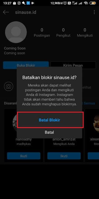 Cara Membuka Blokir Instagram yang saling Memblokir DM 4