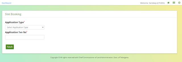 slot booking dharani telangana govt website