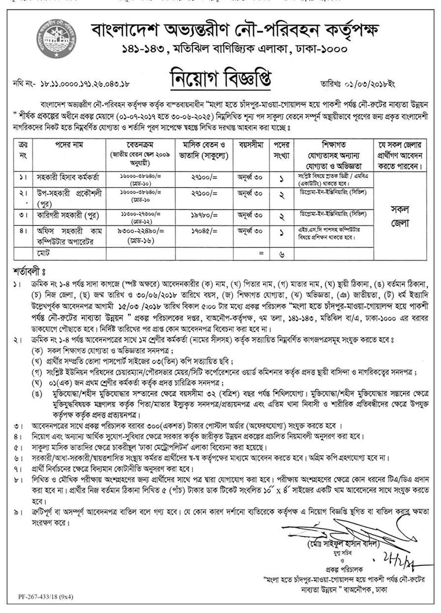 Bangladesh Inland Water Transport Authority (BIWTA) Job Circular 2018