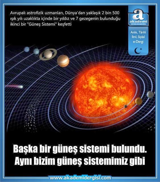 Başka bir güneş sistemi bulundu. Aynı bizim güneş sistemimiz gibi...