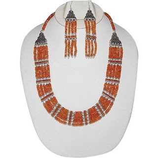 Traditional Indian Silver Gemstone Jewellery Set