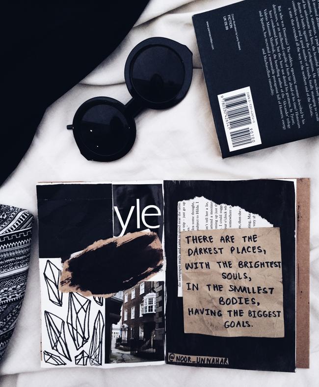 art journal noor unnahar tumblr black aesthetics grunge flatlay