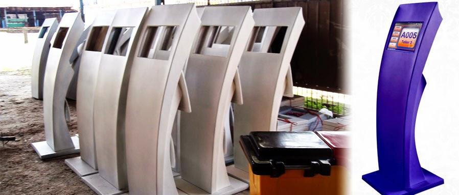 KiosK mesin antrian bahan fiberglass