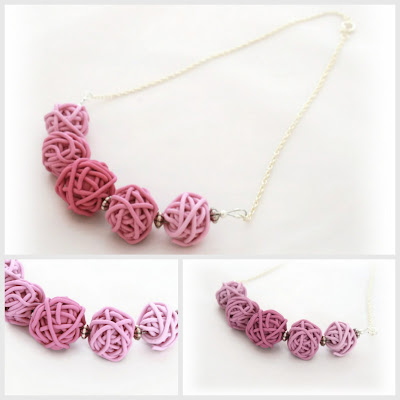 Pink Toned Scribble Necklace handmade from Polymer Clay by lottieOfLondon