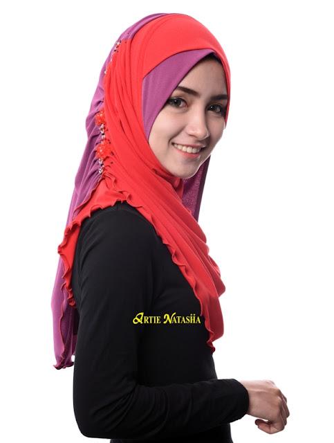 tudung desain baru hijab hari raya 2015 moss crepe Artie Natasha