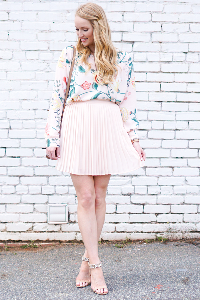 how to style a skirt and top, strawberry chic, loft vine top, peplum skirt
