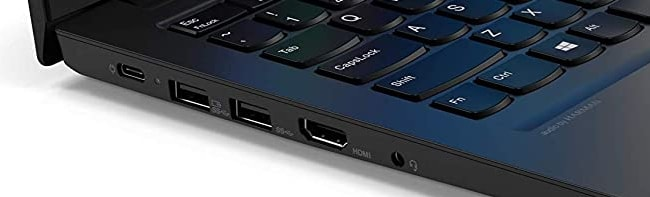 Ports on the left side of Lenovo ThinkPad E14 laptop.