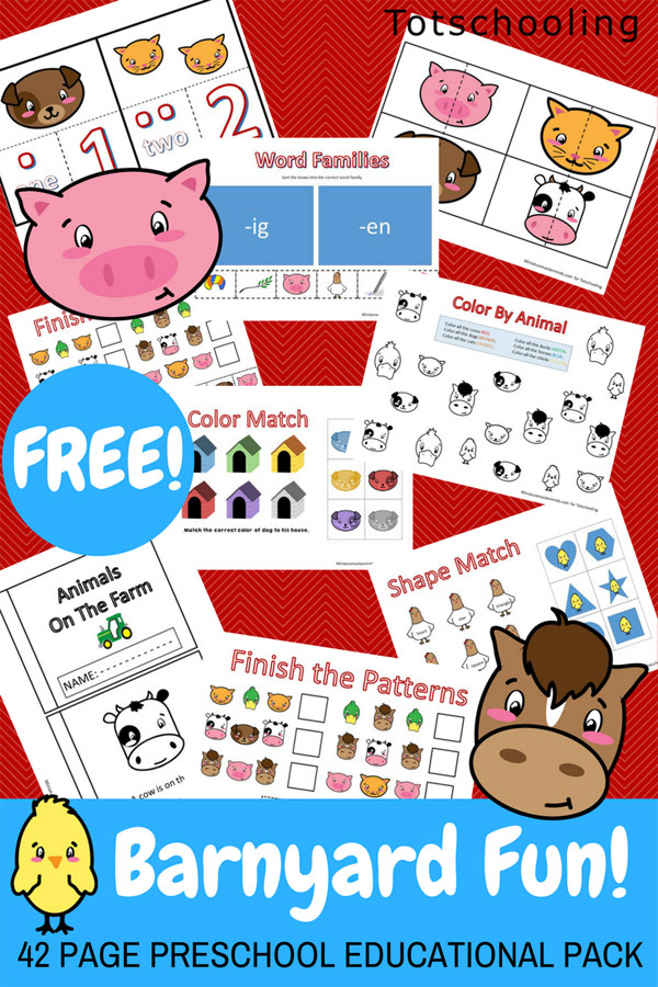 Barnyard Fun! Farm Preschool Pack | Totschooling - Toddler ...