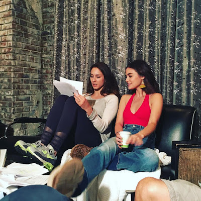 """PLL bts 7x14 """"Power Play"""" Troian Bellisario and Lucy Hale discuss the script"""