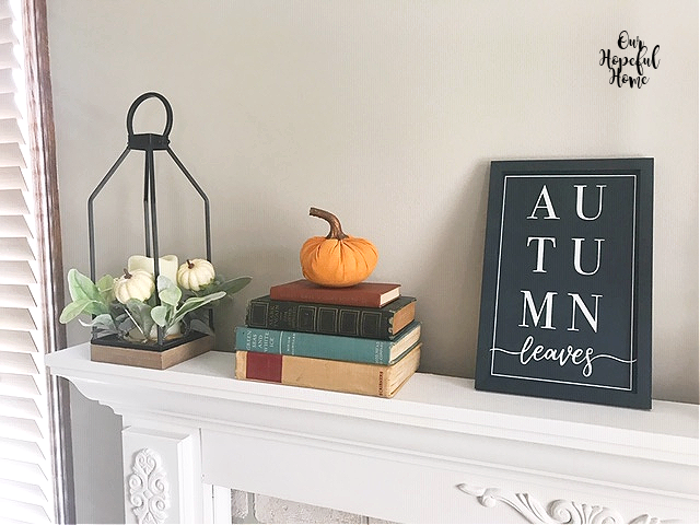 Autimn leaves navy blue sign wall art vintage books lantern pumpkin