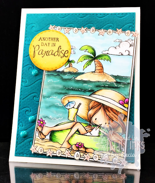Tiddly Inks, Kecia Waters, Copic markers, beach, ocean, paradise