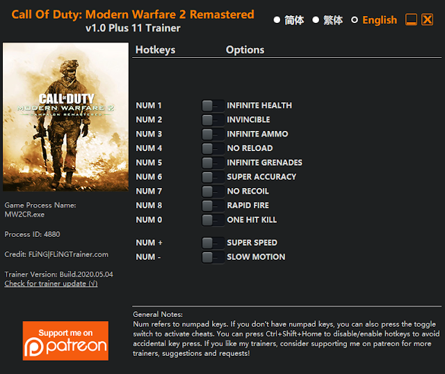 Tampilan Trainer CoD: MW 2 Remastered PC