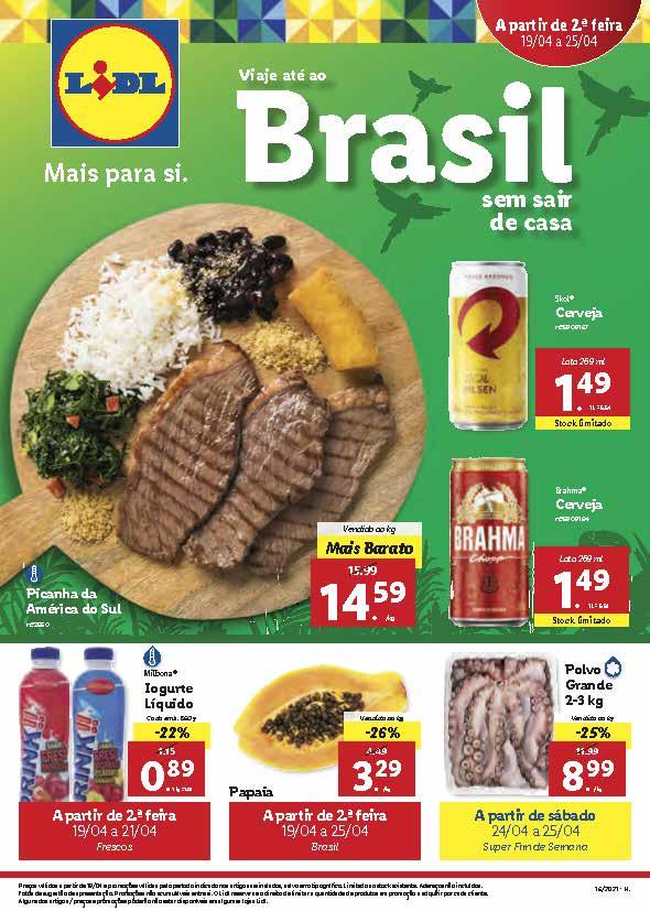 """Folheto LIDL """"Viaje até ao Brasil"""" com as melhores promoções de 19 a 25 de abril"""