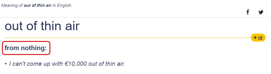 Penjelasan Out of Thin Air