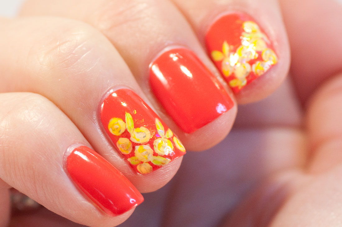 31 Day Challenge - Day 1, Red Nails with flowers