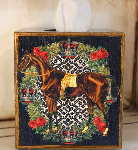 http://www.robinkingdesigns.com/item_362/Horse-with-Crowns-and-Roses-Tissue-Box-Cover.htm