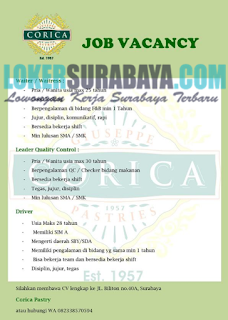 Job Vacancy at Corica Pastry Surabaya Terbaru Juni 2019