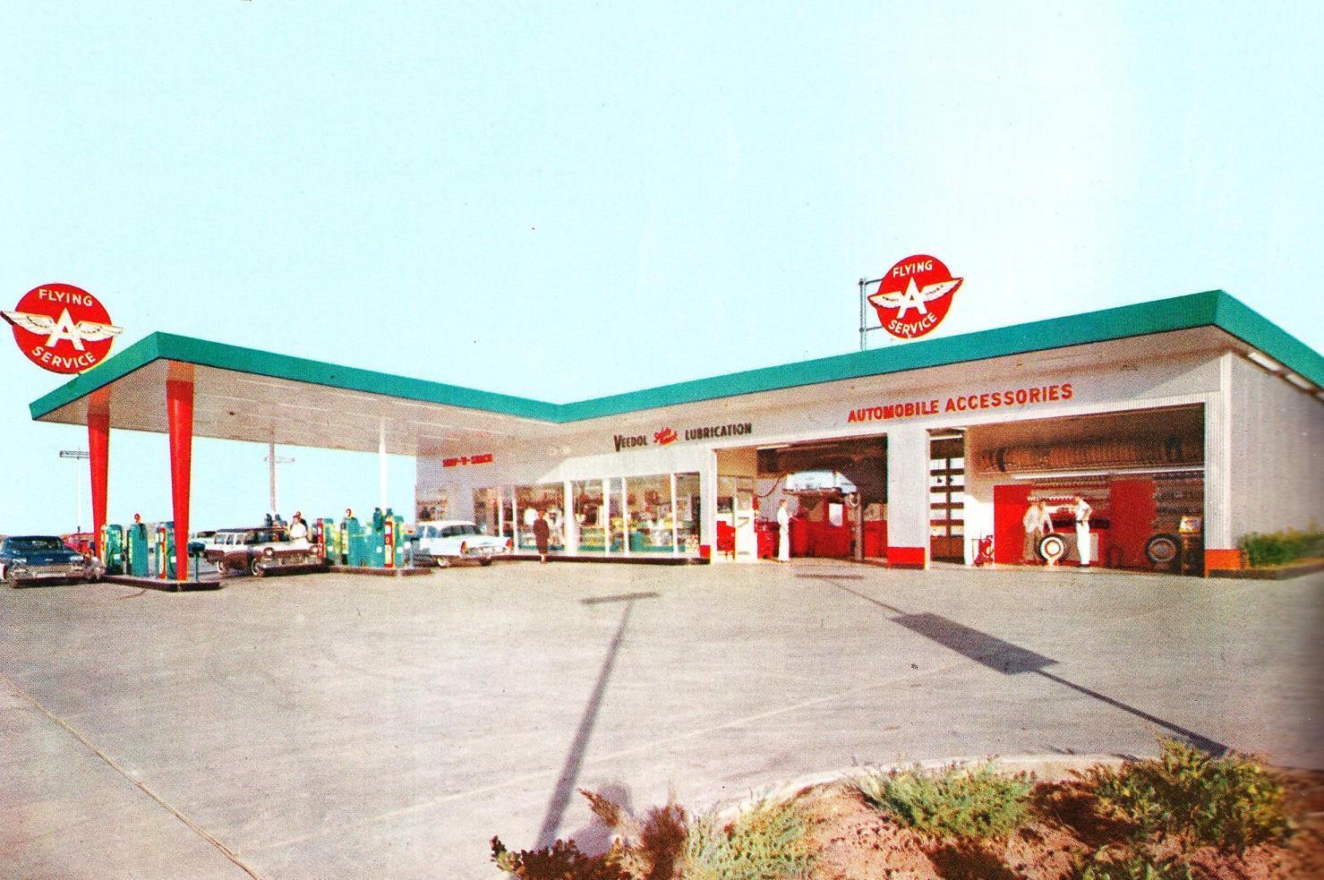 1940 Co-Op Gas Station PHOTO California Vintage Store Eagle Gasoline Pumps