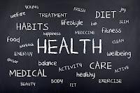 blackboard with health words written on it