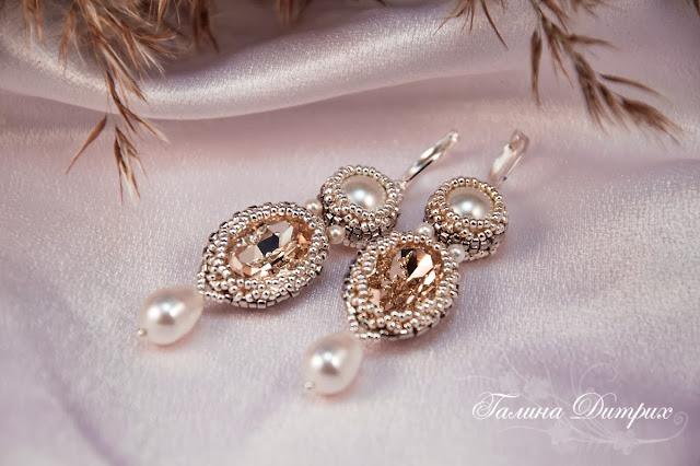 Ажурное оплетение ювелирных кристаллов и жемчуга Сваровски
