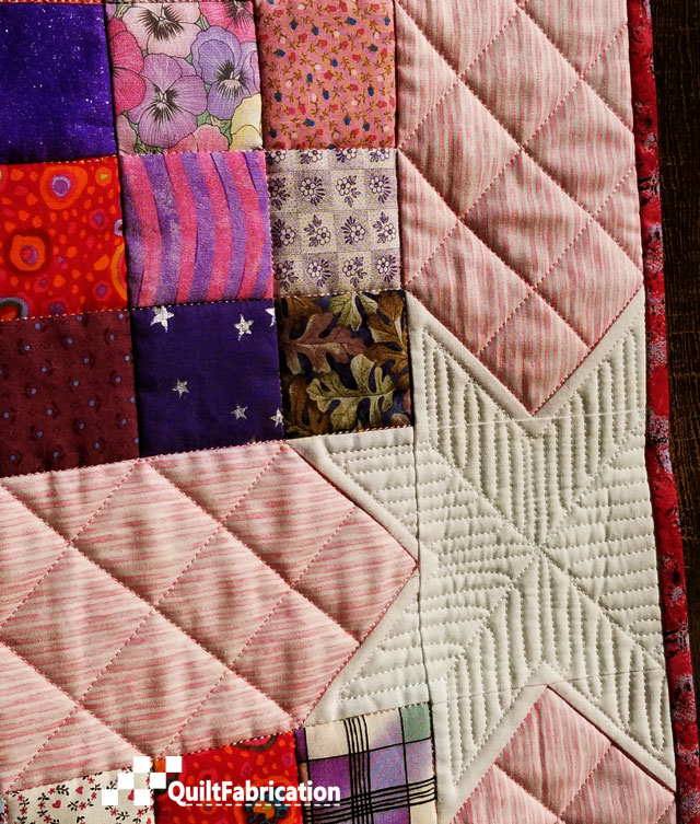 Scrap Happy sashing and star quilting