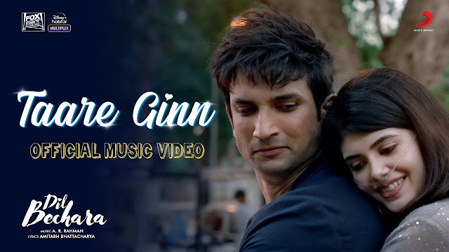 TAARE GINN LYRICS IN HINDI - DIL BECHARA