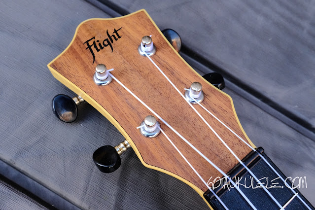 Flight TUC-55 Acacia Travel Concert Ukulele headstock