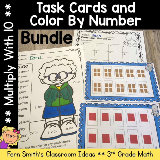3rd Grade Go Math 4.2 Multiply With 10 Color By Number and Task Card Bundle by Fern Smith's Classroom Ideas
