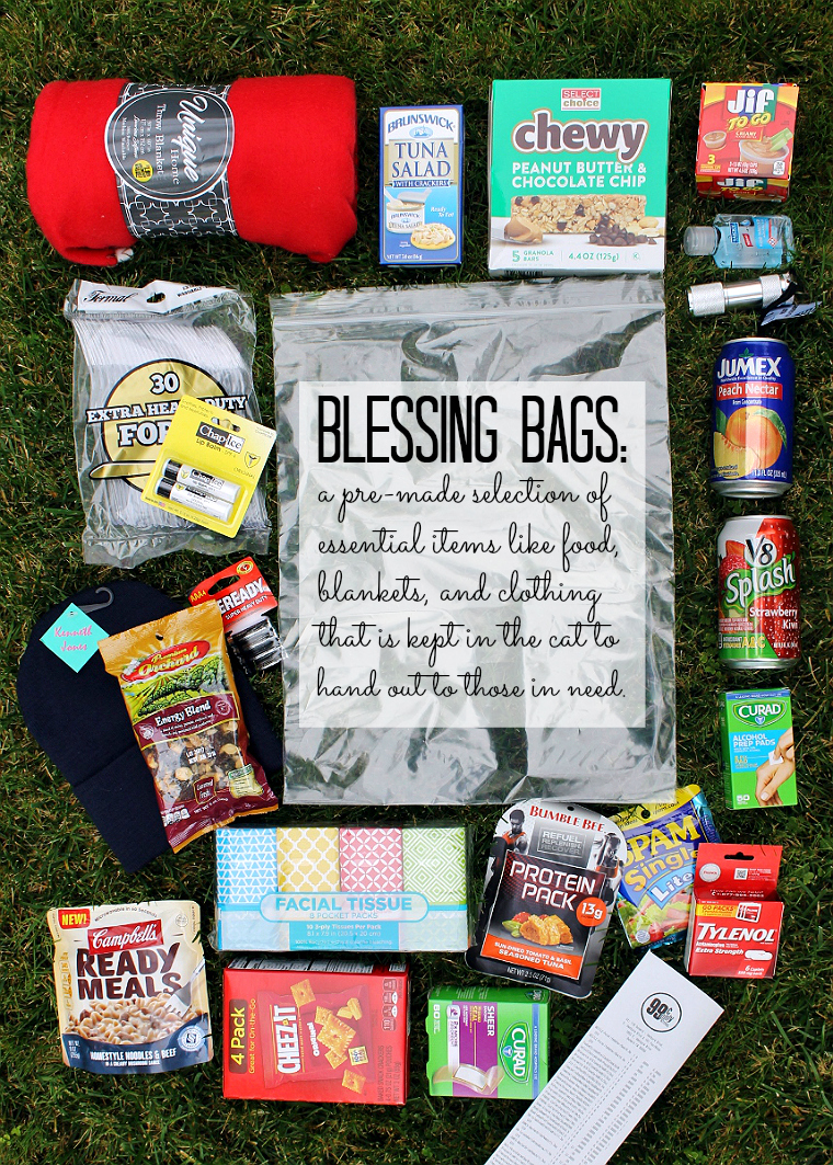 Give back more with thoughtfully filled Blessing Bag kits you can stock on a budget at local 99 Cents Only Stores. Fill tehm with essentials such as fleee blankets, warm knit hats, shelf stable food, and bandages and keep them in the car for those in need. #DoingThe99 #99YourThanksgiving #AD