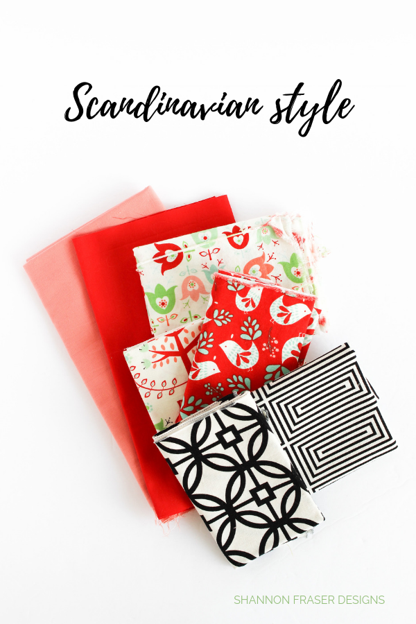 Scandinavian inspired fabric pull for the Modern Aztec quilted table runner