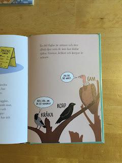 """Bilduppslag ur boken där asätare pratar med varandra, i pratbubblorna """"Det var dö-gott och"""