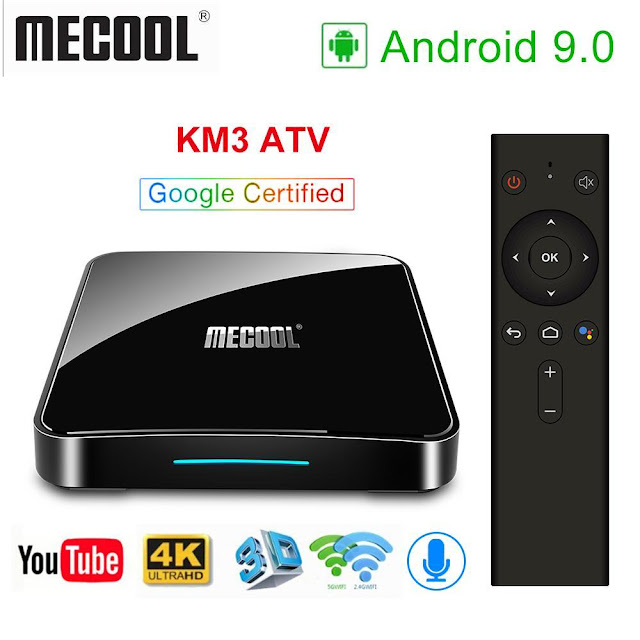 The New MECOOL KM3 with Android 9.0/Voice Control/Google Certification (4GB + 128GB)