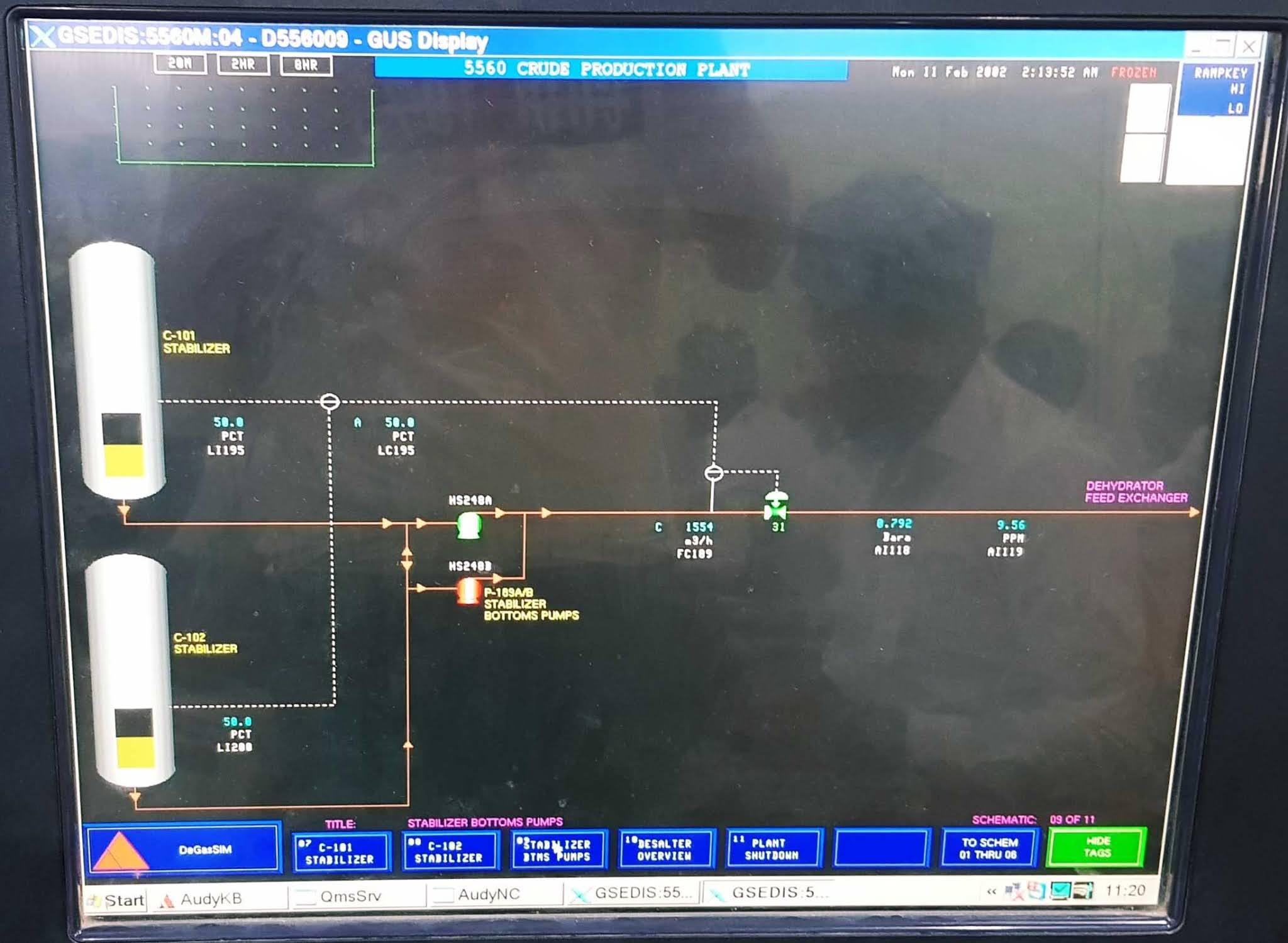 تتبع مسار عمليات تجفيف النفط الخام وإزالة الاملاح وتحليتة عبر مشبة الانتاج