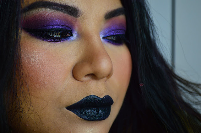 Purple smokey eyes, good vibes palette, mulac cosmetics, selfish nabla, hd eyeshadow 828, hean cosmetics, Stunna Lip Paint Uninvited Fenty Beauty