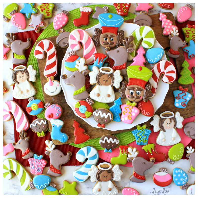 Fun and happy Christmas decorated sugar cookies