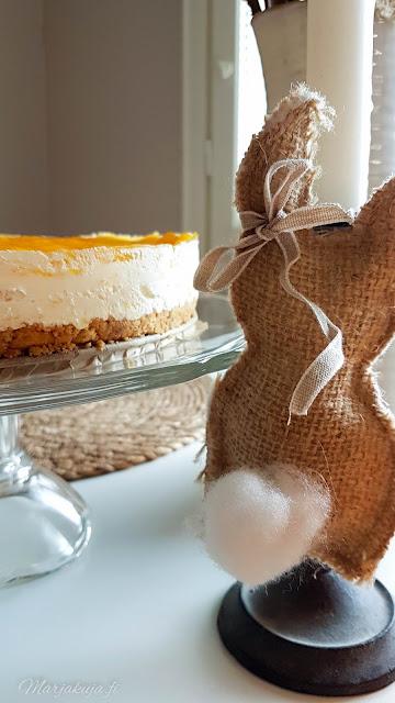 pääsiäinen leivonta leipominen kakku juustokakku mango-juustokakku diy koristeet keittiö