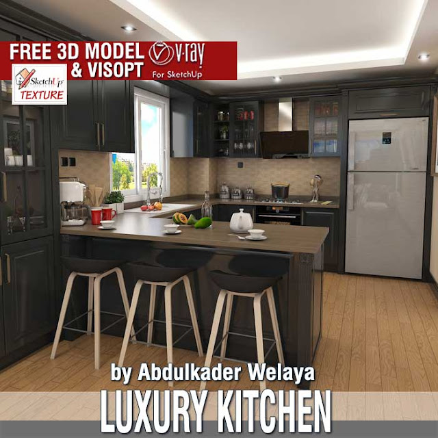 free sketchUp 3d model-Luxury kitchen and vray visopt