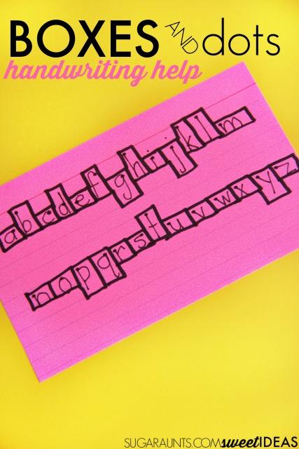 Box and Dot Handwriting Strategy The OT Toolbox