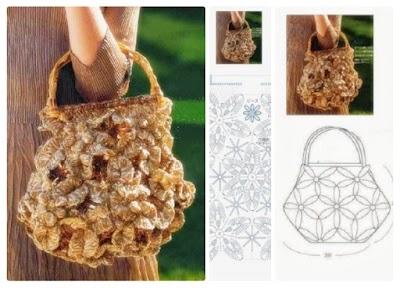Bolso con Flores 3D en Crochet Patrón