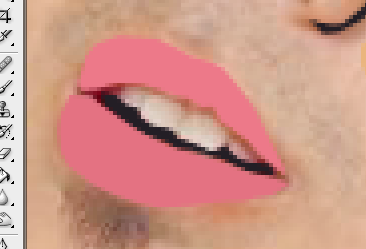 membuat pola untuk bagian bibir