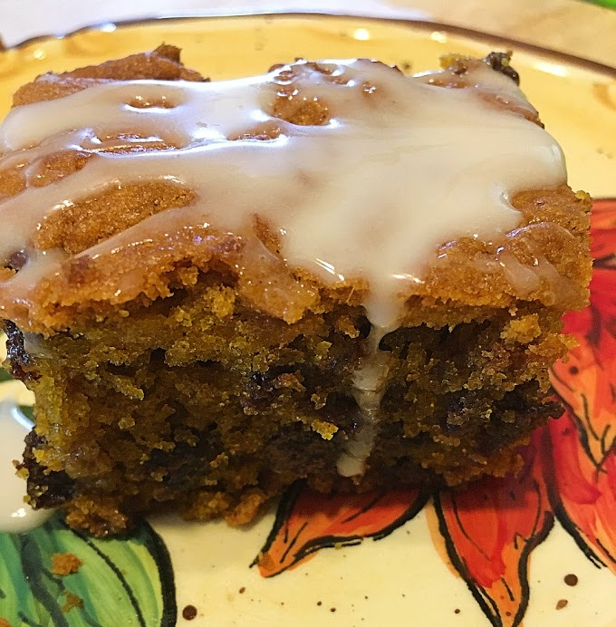 Glazed Pumpkin Bars with  Chocolate Chips