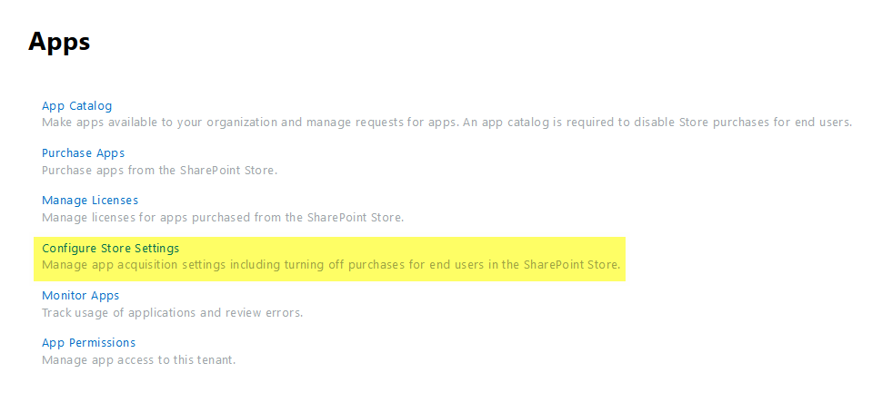 configure app store settings
