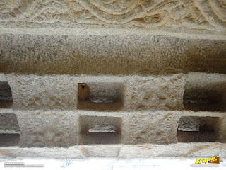 A close-up of skillfully sculpted eaves at Veerabhadra Swamy Temple complex at Lepakshi, in Andhra Pradesh, India